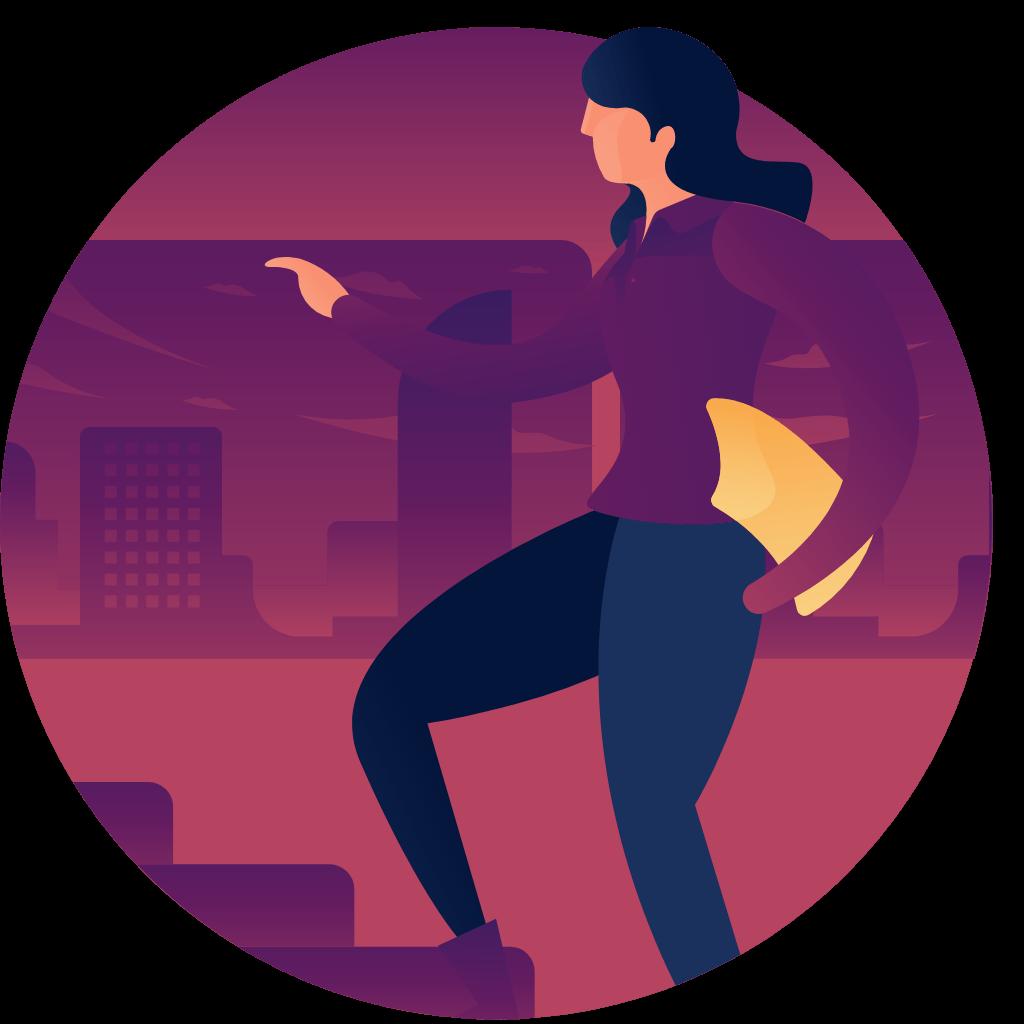 illustration d'une femme dossier sous mle bras montant des escaliers